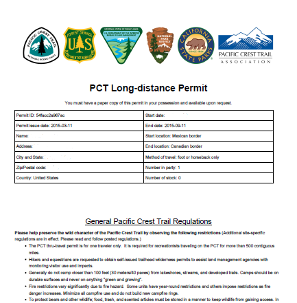 PCT permit hikers