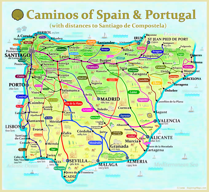 map of caminos in spain and portugal