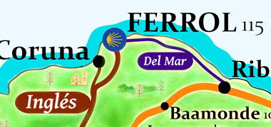 camino ingles mapa